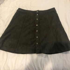 Suede button up skirt